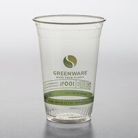 Fabri-Kal GC20 Greenware 20 oz. Compostable Printed Plastic Cold Cup - 1000/Case
