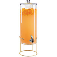 Cal-Mil 22005-5-46 Mid-Century 5 Gallon Round Beverage Dispenser with Ice Chamber and Brass Wire Base - 12 1/2 inch x 10 inch x 32 inch