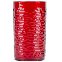 Carlisle 551210 Pebble Optic 12 oz. Ruby SAN Plastic Tumbler - 24/Case