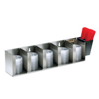 San Jamar L1022 Stainless Steel 5 Stack Horizontal Countertop Lid Organizer with Straw Caddy