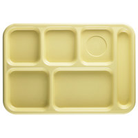 Cambro 10146CW145 Camwear 10 inch x 14 1/2 inch Yellow 6 Compartment Serving Tray - 24/Case
