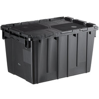 Choice 19 13/16 inch x 14 inch x 12 15/16 inch Medium Stackable Black Chafer Tote / Storage Box with Attached Lid