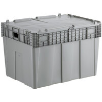 Choice 28 3/4 inch x 20 13/16 inch x 20 1/2 inch Stackable Grey Chafer Tote / Storage Box with Attached Lid