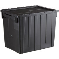 Choice 19 13/16 inch x 14 inch x 17 1/8 inch Large Stackable Black Chafer Tote / Storage Box with Attached Lid