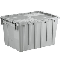 Choice 19 13/16 inch x 14 inch x 12 15/16 inch Medium Stackable Grey Chafer Tote / Storage Box with Attached Lid