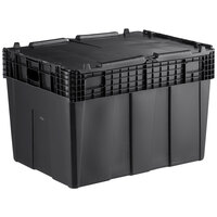 Choice 28 3/4 inch x 20 13/16 inch x 20 1/2 inch Stackable Black Chafer Tote / Storage Box with Attached Lid