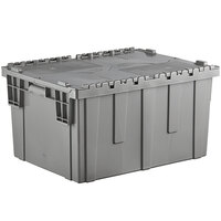 Choice 26 inch x 19 inch x 15 1/4 inch Stackable Grey Chafer Tote / Storage Box with Attached Lid