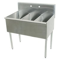 Advance Tabco 6-3-48 Three Compartment Stainless Steel Commercial Sink - 48 inch