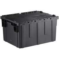 Choice 26 inch x 19 inch x 15 1/4 inch Stackable Black Chafer Tote / Storage Box with Attached Lid