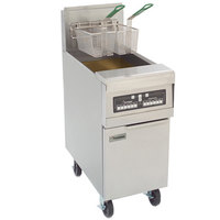 Frymaster MJ250 Liquid Propane Split Pot Floor Fryer 50 lb. - 127,000 BTU