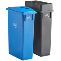 Lavex Janitorial 23 Gallon 2-Stream Slim Rectangular Recycle Station with Black Drop Shot and Blue Paper Slot Lids