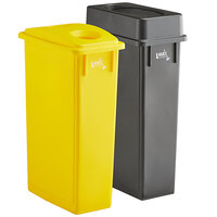 Lavex Janitorial 23 Gallon 2-Stream Slim Rectangular Recycle Station with Black Drop Shot and Yellow Bottle / Can Lids