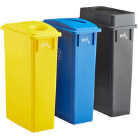Lavex Janitorial 23 Gallon 3-Stream Slim Rectangular Recycle Station with Black Drop Shot, Blue Paper Slot, and Yellow Bottle / Can Lids