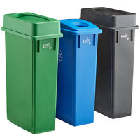 Lavex Janitorial 23 Gallon 3-Stream Slim Rectangular Recycle Station with Black Drop Shot, Green Drop Shot, and Blue Bottle / Can Lids