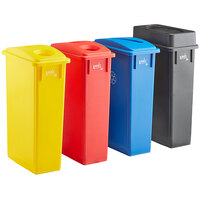 Lavex Janitorial 23 Gallon 4-Stream Slim Rectangular Recycle Station with Black Drop Shot, Blue Paper Slot, Red Bottle / Can, and Yellow Bottle / Can Lids