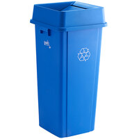 Lavex Janitorial 23 Gallon Blue Square Recycle Bin with Swing Lid