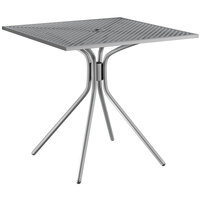 Lancaster Table & Seating Harbor Gray 30 inch Square Dining Height Powder-Coated Steel Mesh Table with Modern Legs
