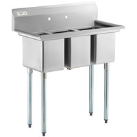Regency 39 inch 16-Gauge Stainless Steel Three Compartment Commercial Sink with Galvanized Steel Legs and without Drainboards - 10 inch x 14 inch x 12 inch Bowls