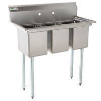Regency 39 inch 16-Gauge Stainless Steel Three Compartment Commercial Sink without Drainboards - 10 inch x 14 inch x 12 inch Bowls