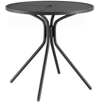 Lancaster Table & Seating Harbor Black 30 inch Round Dining Height Powder-Coated Steel Mesh Table with Modern Legs