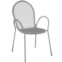 Lancaster Table & Seating Harbor Gray Powder Coated Steel Stackable Outdoor Armchair