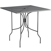 Lancaster Table & Seating Harbor Black 30 inch Square Dining Height Powder-Coated Steel Mesh Table with Ornate Legs