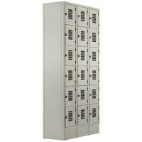 Winholt WL-618/18 Triple Column Eighteen Door Locker with Perforated Doors - 36 inch x 18 inch