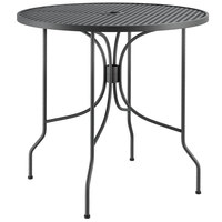Lancaster Table & Seating Harbor Black 30 inch Round Dining Height Powder-Coated Steel Mesh Table with Ornate Legs