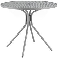 Lancaster Table & Seating Harbor Gray 36 inch Round Dining Height Powder-Coated Steel Mesh Table with Modern Legs