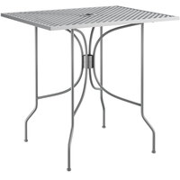 Lancaster Table & Seating Harbor Gray 24 inch x 30 inch Rectangular Dining Height Powder-Coated Steel Mesh Table with Ornate Legs