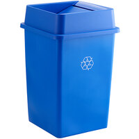 Lavex Janitorial 35 Gallon Blue Square Recycle Bin with Swing Lid