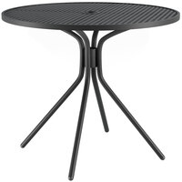 Lancaster Table & Seating Harbor Black 36 inch Round Dining Height Powder-Coated Steel Mesh Table with Modern Legs