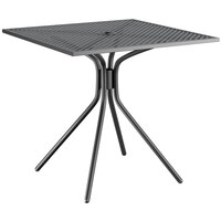 Lancaster Table & Seating Harbor Black 30 inch Square Dining Height Powder-Coated Steel Mesh Table with Modern Legs
