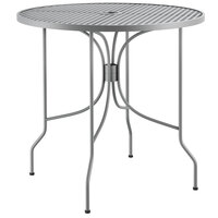 Lancaster Table & Seating Harbor Gray 30 inch Round Dining Height Powder-Coated Steel Mesh Table with Ornate Legs
