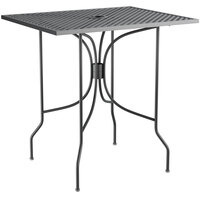 Lancaster Table & Seating Harbor Black 24 inch x 30 inch Rectangular Dining Height Powder-Coated Steel Mesh Table with Ornate Legs