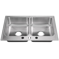 Just Manufacturing DL-2233-A-3 2 Compartment Stainless Steel Drop-In Sink Bowl - 14 inch x 16 inch x 7 1/2 inch