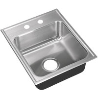 Just Manufacturing SL-2017-A-2 1 Compartment Stainless Steel Drop-In Sink Bowl - 14 inch x 14 inch x 7 1/2 inch