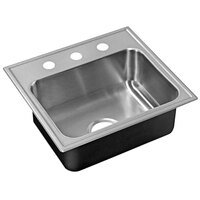 Just Manufacturing SL-ADA-2017-A-355DCR 1 Compartment Stainless Steel ADA Drop-In Sink Bowl with Rear Center Drain - 14 inch x 14 inch x 5 1/2 inch