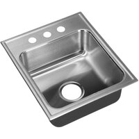 Just Manufacturing SL-ADA-1613-A-355DCC 1 Compartment Stainless Steel ADA Drop-In Sink Bowl with Center Drain - 10 inch x 10 inch x 5 1/2 inch