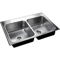 Just Manufacturing DL-1933-A-3 2 Compartment Stainless Steel Drop-In Sink Bowl - 14 inch x 14 inch x 7 1/2 inch