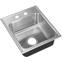 Just Manufacturing SL-2019-A-2 1 Compartment Stainless Steel Drop-In Sink Bowl - 16 inch x 14 inch x 7 1/2 inch