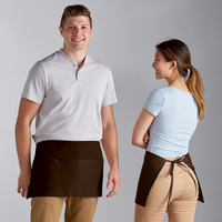 Choice Brown Poly-Cotton Waist Apron with 3 Pockets - 12 inchL x 26 inchW