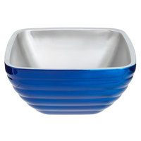 Vollrath 4761925 24 oz. Stainless Steel Double Wall Cobalt Blue Square Beehive Serving Bowl