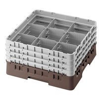 Cambro 9S958167 Brown Camrack Customizable 9 Compartment 10 1/8 inch Glass Rack