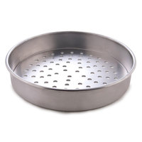 American Metalcraft PT4009 9 inch x 1 inch Perforated Tin-Plated Steel Straight Sided Pizza Pan