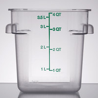 Carlisle 1072107 4 Qt. Clear Square StorPlus Container with Green Graduations