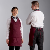 Choice Burgundy Adjustable Poly-Cotton Tuxedo Apron with 2 Pockets - 32 inchL x 29 inchW
