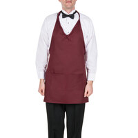 Choice Burgundy Tuxedo Full Length Bib Apron with Pockets - 32 inchL x 27 1/4 inchW