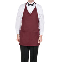 Choice 32 inch x 29 inch Burgundy Tuxedo Full Length Bib Apron with Pockets