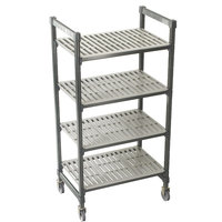 Cambro Camshelving Premium CPMS184267V4480 Mobile Shelving Unit with Standard Casters 18 inch x 42 inch x 67 inch - 4 Shelf
